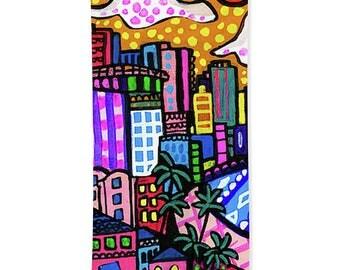 Honolulu Skyline Hawaii Towels - Hand Towel, Bath Towel or Beach Towel -  Oahu Waikiki Beach Art Bathroom Decor Ocean Artist Heather Galler