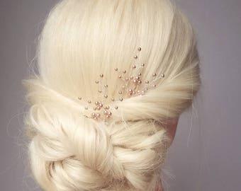 Rose Gold Hair Pins, Wedding Hairpiece, Bridal Hair Clip, Pearl Hair Accessory, Rose Gold Babies Breath, Bridal Hair Comb, Headpiece, Vine