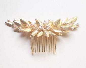 Bridal Hair Comb, Leaf Hair Pin, Gold Hair Piece With Pearls, Leaf Hair Vine, Wedding Hairpiece, Leaf Hair Comb, Gold Headpiece, Bridal