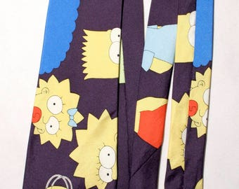 "90's The Simpsons - Bart Homer Marge Maggie Lisa family Matt Groening animated sitcom satire cartoon silk necktie - 58.75"" L - 3.75"" W"