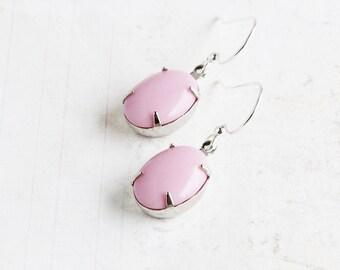 Light Pink Oval Rhinestone Earrings on Silver Plated Hooks (Vintage Glass)