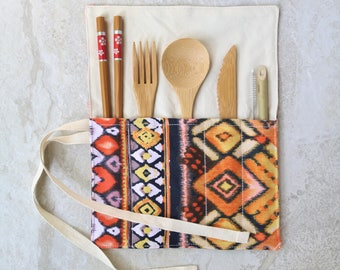 Zero Waste Utensils Wrap - Reusable bamboo cutlery roll Plastic waste free travel eco friendly wooden utensil set boho cotton fabric