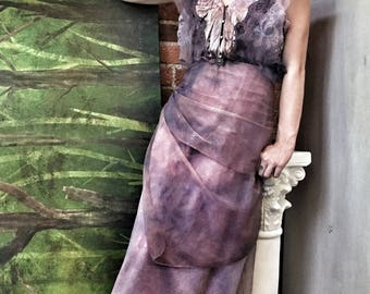 Purple Sheer Faerie Dress / Purple Lounge Dress / Purple Lace Maxi Dress