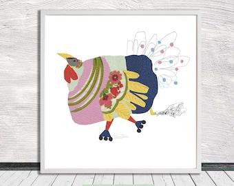 Roller Skating Turkey, Nursery Art, Fun Kids' Poster, Illustration, Wall Art, Printable Art, Instant Digital Download (for self printing)