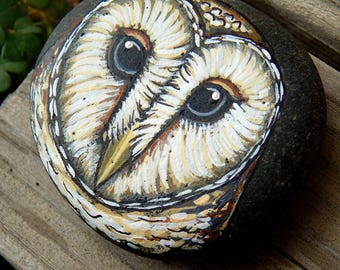 BARN OWL Hand Painted Totem Stones OWLS Rock Art Owl Medicine Forest Animals Spirit Guide Altar Painted Rocks Nature Paintings Tyto Alba