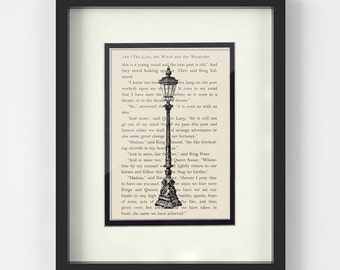 Narnia, Lamp Post Over Narnia The Lion Witch and The Wardrobe Book Page - Narnia Gift, The Chronicles of Narnia, CS Lewis, Narnia Art Print