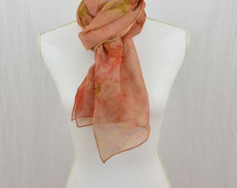 Hand Painted Chiffon Silk Scarf, Muted Salmon, Pink, Green, Earthy, Hippie, Boho, Watercolor Scarf, Abstract Scarf