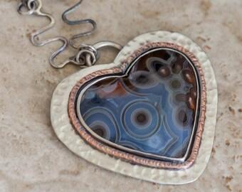 Turkish Agate Heart Pendant in Sterling Silver Psuedomorph Agate Handmade