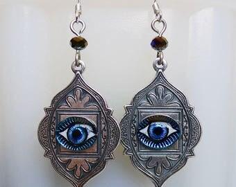 Mesmerizing Eyes // Silver Evil Eye Drop Earrings with Vintage Glass Cameo Eyes, Third Eye Bohemian Boho Gypsy Hippie Occult Illuminati Deco
