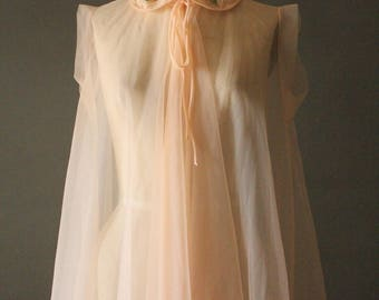 Vintage 60's Peach Sheer Lace Peter Pan Collar Nightie Babydoll by Pandora Lingerie, size S