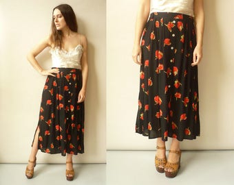 Vintage 1990's Floral Button Down Grunge Maxi Skirt Size Large