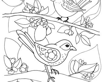 Birds on Branches Coloring Page