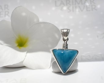 Larimar pendant by Larimarandsilver, Night Amazon - volcanic blue Larimar triangle, blue triangle pendant, blue sapphire triangle pendant