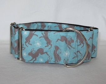 SALE Bunny Rabbit Martingale Dog Collar - 1.5 or 2 Inch - blue brown animal cute easter hop