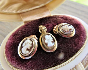 Antique Carved Cameo Demi Parure Dainty 12KT Goldfilled Excellent Condtion