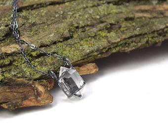Genuine Herkimer Diamond Necklace - Herkimer Diamond Jewelry - Raw Herkimer Crystal Cage Necklace - Herkimer Jewelry - Large Crystal O
