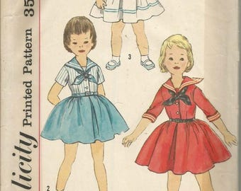 1950s Girls' Dress Sailor Collar Full Skirt Sleeve Variations Simplicity 2358 Size 4 Breast 23 Children's Girls' Vintage Sewing Pattern