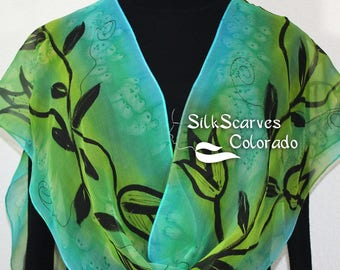 Silk Scarf Hand Painted Silk Shawl Sage Green Lime Hand Dyed Silk Scarf FLOWER FAIRY Extra Long 11x90 Birthday Gift Scarf Gift-Wrapped Scarf