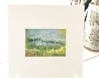 ORIGINAL island art landscape watercolor painting, marsh grasses, blue green, tiny ACEO art already matted, gift under 10 dollars