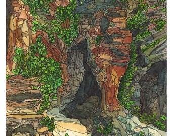 """Original Watercolor - Zion National Park West Rim Trail - 12x18"""" painting"""