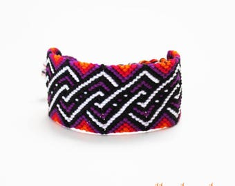 XL friendship bracelet - Large wide cuff Boho macramé bangle geometric twist design seventies hippie pattern