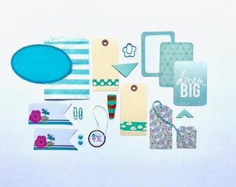 Blue Tag + Embellishment Kit Collection . Planner Scrapbooking Mini Album Midori Travelers Notebook Listers . Aqua Clouds Polka Dots Gold