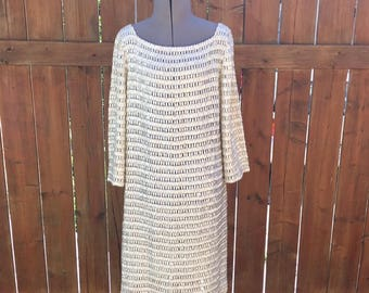 Vintage 1960s Mother Of Pearl Beaded Mini Dress / Sheer 60s Party Dress