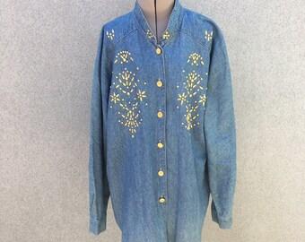 Vintage 90s Oversize Gold Floral Studded Denim Shirt / 1990s Long Beaded Blue Jean Shirt