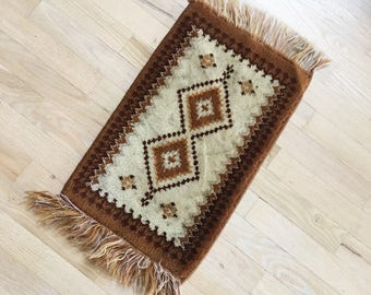 vintage small brown persian rug small accent rug fringe rug small persian rug