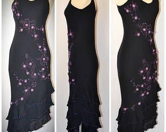 Vintage Black Silk Bias Cut Spanish Style Dress With Purple Hand Beading Floral Embellishments Sz M/L