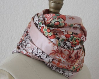 Floral Print Satiny Oblong Scarf Extra Long