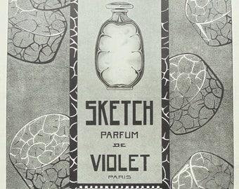 1920's Genuine French Sketch Parfum de Violet Advert
