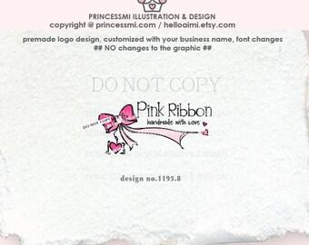 1195-8 BOW Logo Design,Premade Ribbon logo, photography logo, Boutique logo, bow Watermark design, bow logo, pink bow, ribbon
