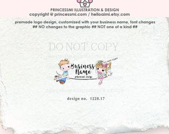 1228-17  boy and girl logo, cute, doodle kids logo, children boutique logo, child, kids business logo, watermark