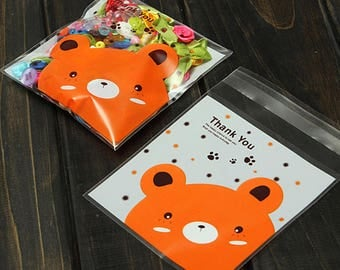 "Bear party bags pack of 20 orange bear ""Thank You""- DIY gift craft birthday candy cookie toy favor kids self seal - Lillibon"