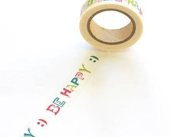 Be Happy washi tape colorful graffiti smiley paper masking for planners scrapbooks journals craft swap mail stationery - Lillibon