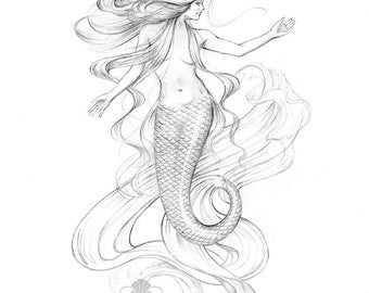 8x10 inch PRINT Mermaiden Nouveau Mermaid Art Graphite Pencil Drawing Tattoo Black and White Illustration Beach House Decor Signed