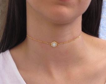 Opal Choker | Opal Hexagon Choker | Dainty Opal Necklace | Boho Jewelry | October Birthstone | Gold Chain Choker | Minimalist Jewelry |