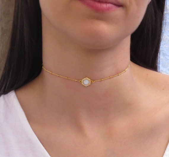 Opal Hexagon Choker