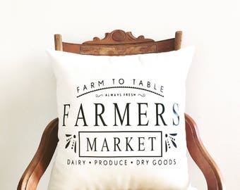 farmers market pillow cover, farmhouse style, farmhouse pillow cover, modern farmhouse decor, farmhouse decor, housewarming gift, under 40