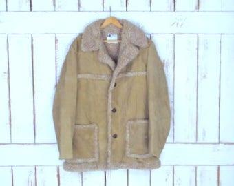 Mens vintage tan faux shearling/sheepskin faux suede winter coat jacket/winter plush fur lined jacket