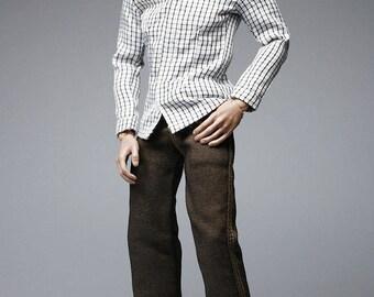 mc0277  Black White Checker Clothing Set Shirt+Jeans+Belt+Shoes for 1/6 Action Figure