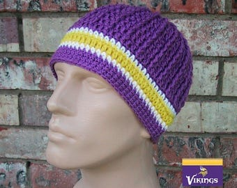 Beanie in Team Colors - Vikings - Medium Purple & Gold Colors - Unisex / Mens Size M/L - Hand Crocheted Soft Warm Acrylic Yarn - Nice Gift