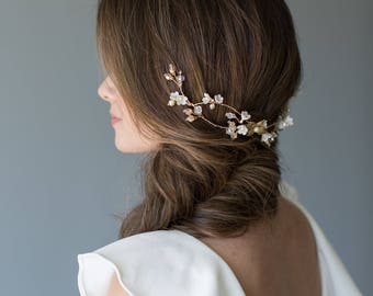 Wedding Headpiece, Bridal Hair Vine, Floral Bridal Headband, Beaded Bridal Headband, Floral Bridal Hair Vine - TAMSYN