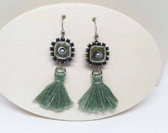 Blingy Rhinestones Embrace Shimmery Paper  - Sage Green Earrings - Tassel Earrings - First Anniversary - Bridesmaid - Boho Jewelry