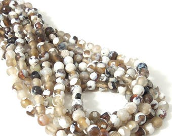 Agate, White/Brown/Black, 6mm, Round, Faceted, Fired Agate, Gemstone Beads, Small, 14.5-15 Inch Strand - ID 2244