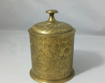 Etched Floral Brass Lidded Storage Container
