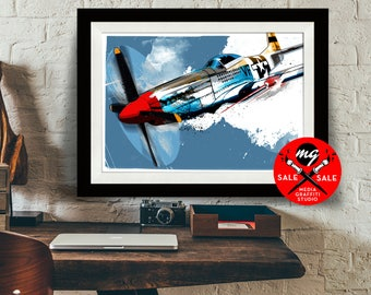 """AIRPLANE - SALE! 18""""X24"""" - P-51 Mustang - Airplane Decor, WWII vintage airplane, Art Print, Air Force, Military Gift, Aviation, Pilot gift"""