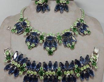 JULIANA  Sapphire Blue Coffin Hexagon Rhinestone Necklace Bracelet Earrings Parure Set    OCG3