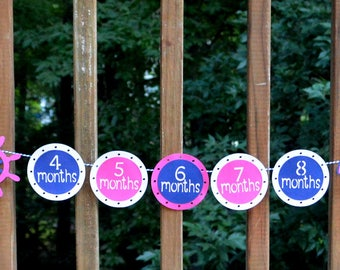 Nautical 1st Year Photo Banner READY TO SHiP Sailboat Banner NAVY & Pink Sail Away Photo Banner Ahoy First Birthday Decoration Girl Birthday